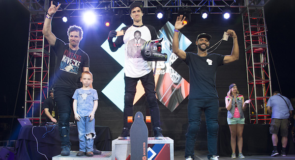Austin, TX - June 6, 2015 - Circuit of The Americas: Mykel Larrin, Morgan Wade, and Colton Satterfield on the podium after competing in GoPro BMX Big Air Final during X Games Austin 2015 (Photo by Kaitlyn Egan / ESPN Images)