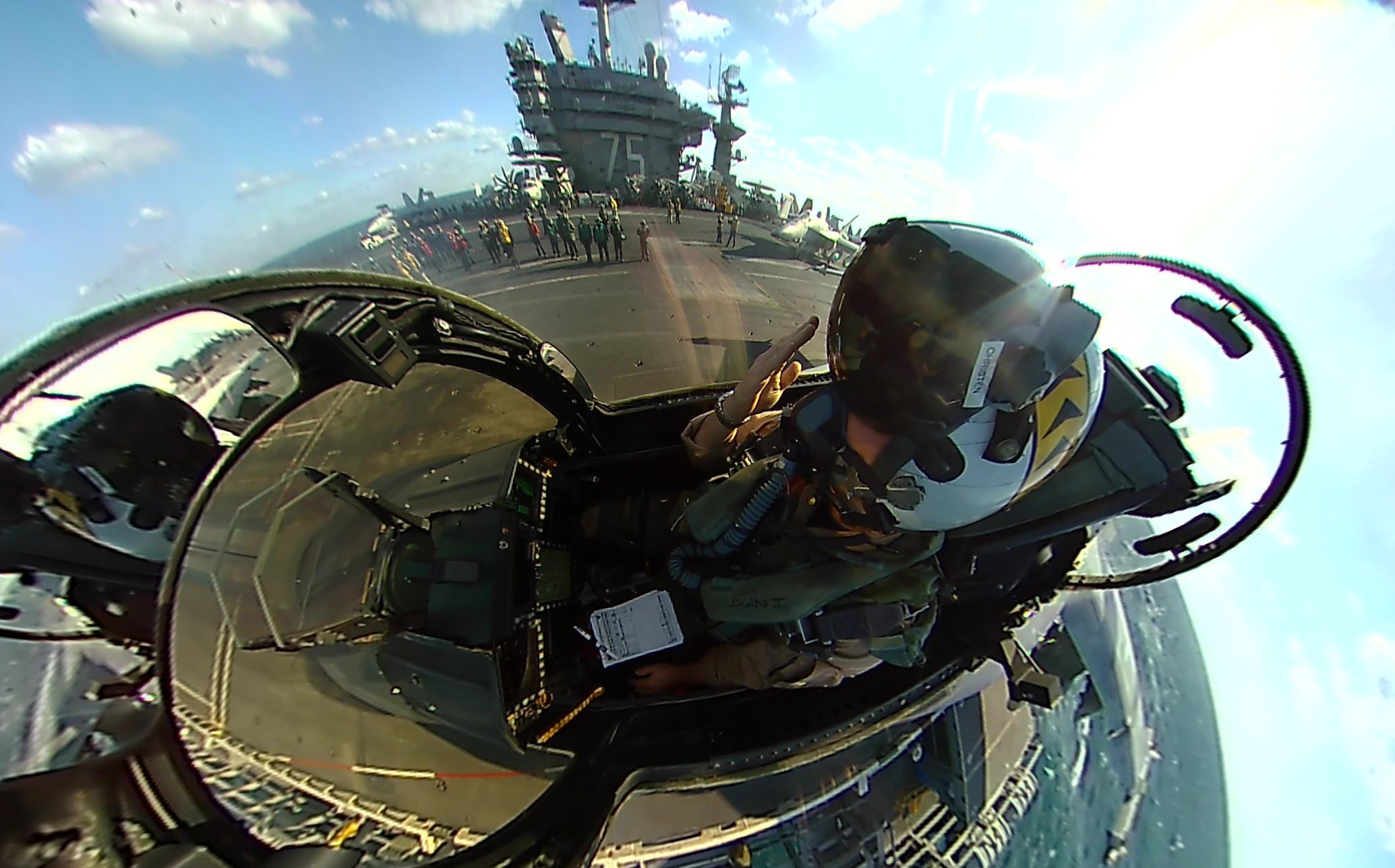 360fly: F/A-18 Super Hornet launch from the USS Harry S. Truman
