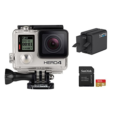 Recommended: GoPro HERO 4 Silver Edition 12MP Waterproof Sports & Action Camera Bundle with 2 Batteries, Dual Battery Charger, 16GB Micro SD Card, Standard & Skeleton Housing and 3-way Pivot Arm