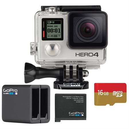 Recommended: GoPro HD Hero4 Silver Action Camcorder with Dual Battery Charger and 16GB MicroSD Card