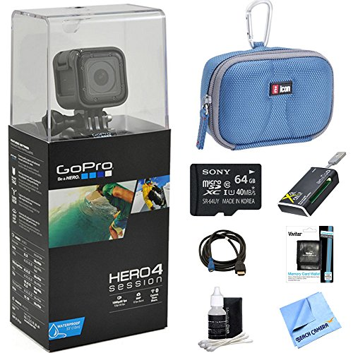 Recommended: GoPro HERO4 Action Camera Ready for Adventure Bundle Includes GoPro Hero 4, 64GB Micro SDXC Memory Card, Case, Card Reader, Memory Card Wallet, HDMI, Lens Cleaning Kit and Beach Camera Cloth