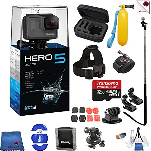 Recommended: Gopro Hero 5 Black 14 Piece Epic Bundle Includes: Go Pro Hero5 Black + Case + Floaty Bobber + Head Strap + Glove Mount + Monopod + More