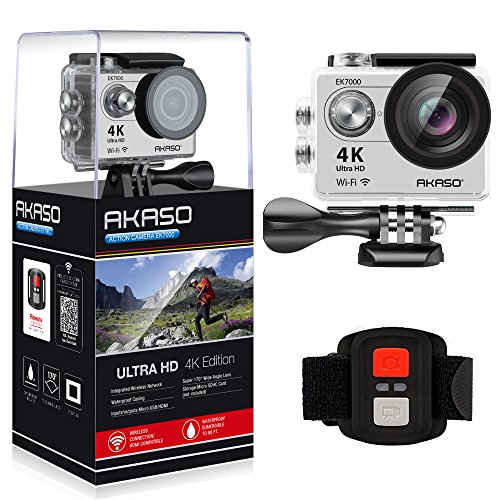 Recommended: AKASO EK7000 4K WIFI Sports Action Camera Ultra HD Waterproof DV Camcorder 12MP 170 Degree Wide Angle 2 inch LCD Screen/2.4G Remote Control/2 Rechargeable Batteries/19 Mounting Kits-Silver