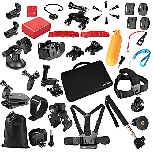 Recommended: Captain Accessories kit for Gopro Hero 4 Session, Hero 1, 2, 3, 3+, 4, SJ4000, 5000, 6000, 7000, Xiaomi Yi (42 Items)