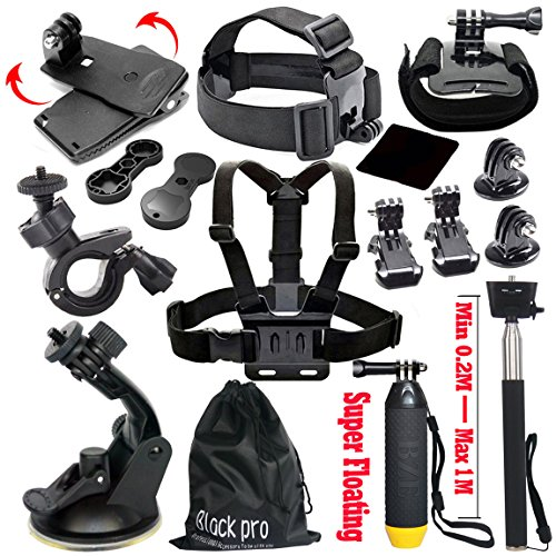 Recommended: Black Pro Basic Common Outdoor Sports Kit for GoPro Hero 5 / Session 5/4/3/2/1 (13 Items)