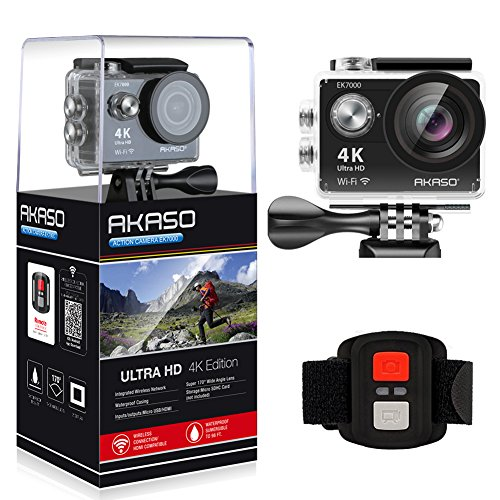 Recommended: AKASO EK7000 4K WIFI Sports Action Camera Ultra HD Waterproof DV Camcorder 12MP 170 Degree Wide Angle 2 inch LCD Screen/2.4G Remote Control/2 Rechargeable Batteries/19 Mounting Kits-Black