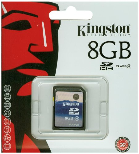 Recommended: Kingston 8 GB Class 4 SDHC Flash Memory Card SD4/8GB