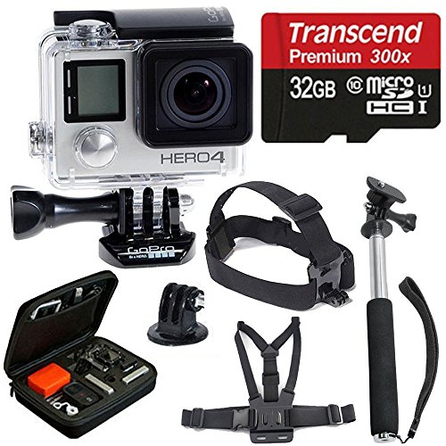 Recommended: GoPro HERO4 SILVER Edition Camera HD Camcorder With Deluxe Carrying Case + Head Strap + Chest Strap + Monopod + 32GB SDHC MicroSD Memory Card Complete Deluxe Accessory Bundle