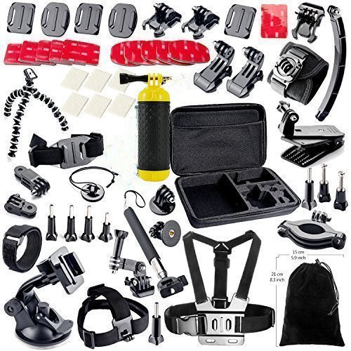 Recommended: MCOCEAN Accessory Kit for GoPro Cameras (Silver Black, 38-Pieces)