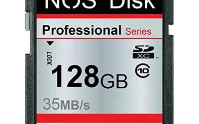 Recommended: NOS Disk Extreme 128 GB SD SDXC Class 10 up to 35 MB/s Memory Card, 128 GB SD SDXC Card Class 10
