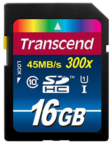 Recommended: Transcend 16GB SDHC Class 10 UHS-1 Flash Memory Card Up to 45MB/s (TS16GSDU1E)