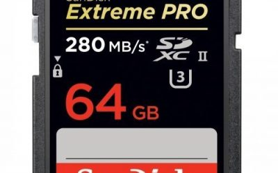 Recommended: SANDISK #SDSDXPB064GA46 Extreme Pro 64 GB Secure Digital Extended Capacity (SDXC) – Class 3/UHS-II – 280 MBps Read – 250 MBps Write – 1 Card