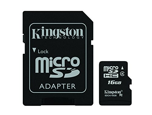 Recommended: Kingston Digital 16 GB Class 4 microSDHC Flash Card with SD Adapter (SDC4/16GBET)