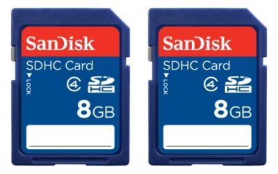 Recommended: SanDisk 8GB Class 4 SDHC Memory Card, 2 Pack, Frustration-Free Packaging- SDSDB2-008G-AFFP (Label May Change)