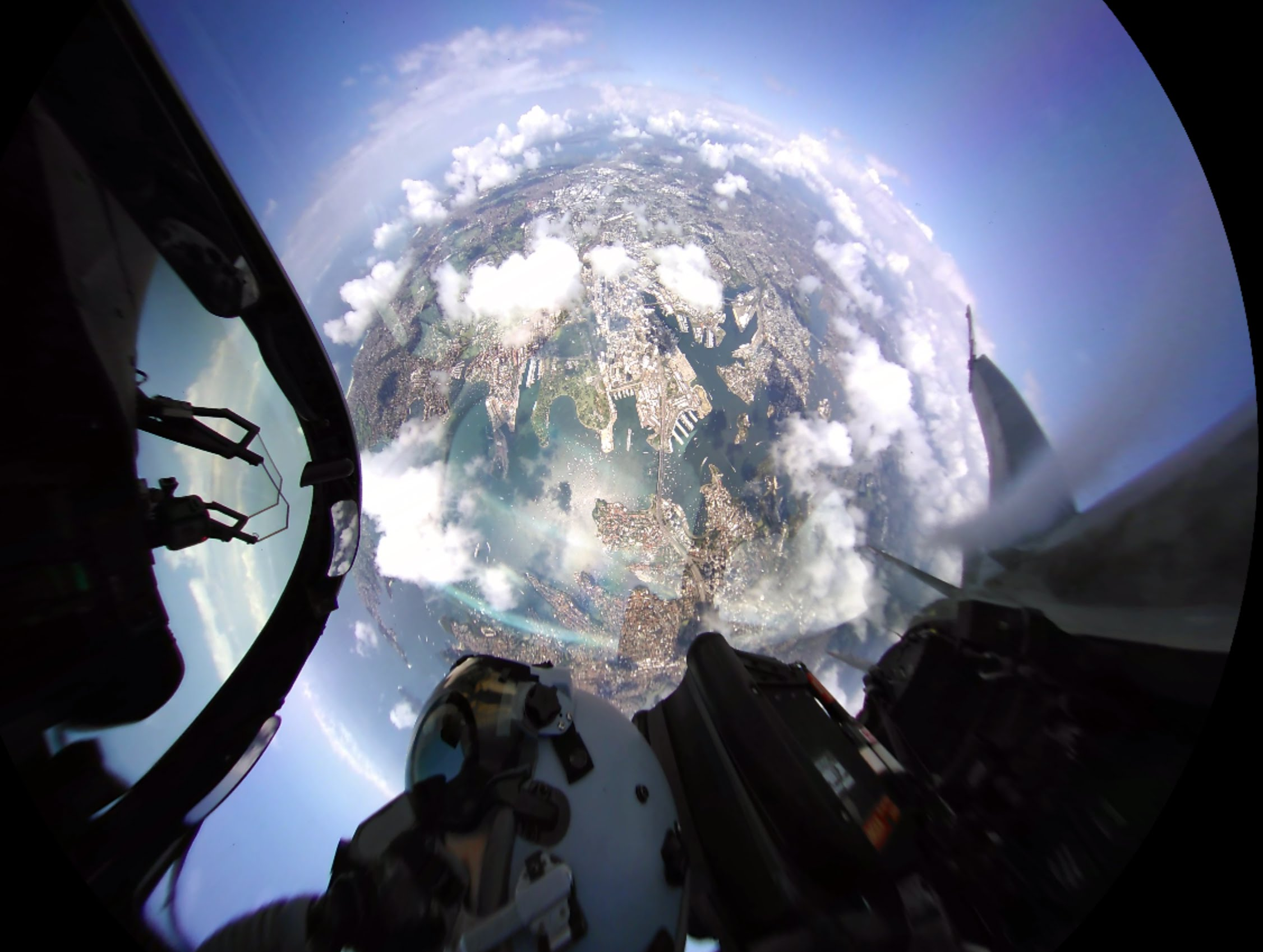 360fly: See Sydney Harbour from the cabin of an F/A-18 Hornet.