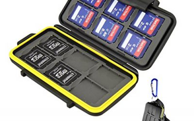 Recommended: Beeway® Memory Card Carrying Case Holder for SD SDHC SDXC – 12 Slots Sealed Waterproof with Storage Bag & Carabiner