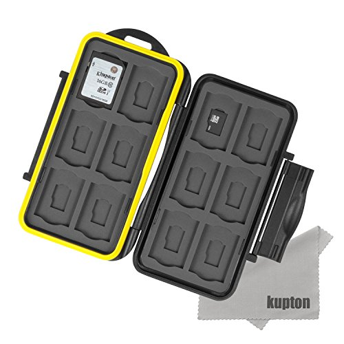 Kupton K020 Water-resistant Memory Card Case Shockproof Carrying Case Protector Box: 24 Slots for 12 Piece SDHC / SDXC Cards and 12 Micro SD Cards