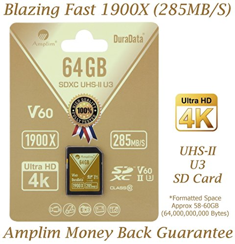 Amplim 64GB UHS-II SDXC SD Card Blazing Fast Read 285MB/S (1900X) Class 10 U3 Ultra High Speed V60 UHSII Extreme Pro SD XC Memory Card. Professional 4K 8K Video Shooting 64 GB / 64G TF Flash. New