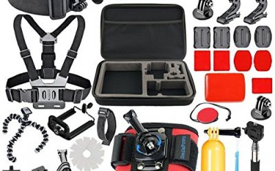 SmilePowo 42-in-1 Accessory Kit For Gopro Hero5 Black, Hero5 Session, Hero6 Black, Gopro Fusion, Hero 4 Silver Black, Hero Session, GoPro HERO (2018) ,Accessory Bundle Set,HERO 3 2 1, SJ Cam Xiaomi