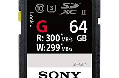 Sony SF-G64/T1 High Performance 64GB SDXC UHS-II Class 10 U3 Memory Card with Blazing Fast Read Speed up to 300MB/s