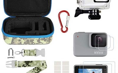 Kitspeed Accessories kit for GoPro Hero 7 White/Silver, Including Waterproof Housing Case/Portable Small Carrying case/Screen Protector/Carabiner/Camouflage Strap/Anti-Fog Insert