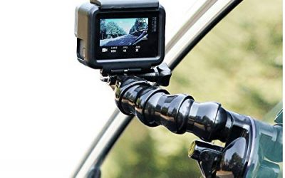 SUREWO Swivel Arm Car Suction Cup Mount Holder with Phone Holder Compatible with GoPro Hero 7 6 5 Black,4 Session,4 Silver,3+,iPhone,Samsung Galaxy,Google Pixel and More