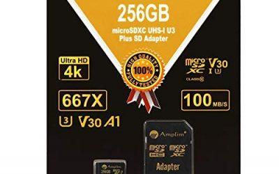 256GB Micro SD SDXC V30 A1 Memory Card Plus Adapter Pack (Class 10 U3 UHS-I MicroSD XC Extreme Pro) Amplim 256 GB Ultra High Speed 667X 100MB/s UHS-1 TF MicroSDXC 4K Flash – Cell Phone, Drone, Camera
