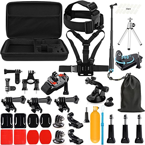 Lighten Outdoor Sports Accessories Kit for GoPro Hero 7 Black Silver White/6/Hero 5 4 3+ 3 2 1/Hero(2018)/Fusion AKASO EK7000 APEMAN Campark FITFORT 4K WiFi Action Camera