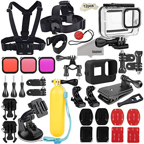 Kupton Accessories Kit for GoPro Hero 8 Action Camera Accessory Bundle Set, Waterproof Housing Case + Silicone Sleeve + Filters + Head Chest Strap + Suction Cup Mount + Bicycle Mount + Floating Grip