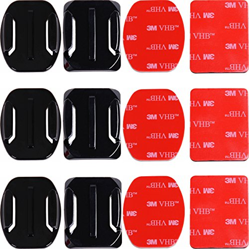 Adhesive Mounts for GoPro Cameras – 3X Curved & 3X Flat Mounts Bundle w/ 3M Sticky Pads- Tape Mount to Your Helmet/Bike/Board/Car- Fits All Go Pro Models – Premium Camera Accessories