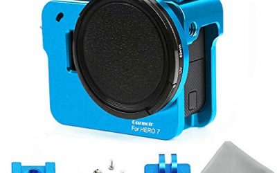 Gurmoir Aluminum Alloy Case Housing for Gopro Hero 7 Black/Hero(2018) Action Camera Wire Connectable Protective Metal Skeleton Cage with 52 mm Filter with Back Door (Blue)
