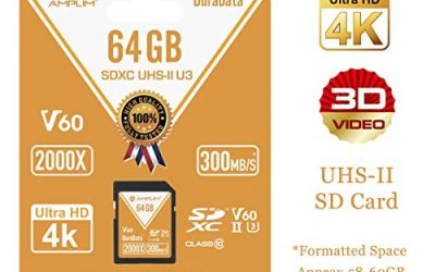 64GB V60 UHS-II SDXC SD Card – Amplim Blazing Fast 300MB/S (2000X) UHS2 Extreme High Speed 64 GB/64G SD XC Memory Card. 4K 8K Video Camera UHSII Card for Fujifilm, Nikon, Olympus, Panasonic, Sony
