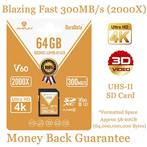 64GB V60 UHS-II SDXC SD Card – Amplim Blazing Fast 300MB/S (2000X) UHS2 Extreme High Speed 64 GB/64G SD XC Memory Card. 4K 8K Video Camera UHSII Card for Fujifilm, Nikon, Olympus, Panasonic, Sony