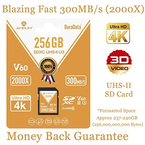 256GB V60 UHS-II SDXC SD Card – Amplim Blazing Fast 300MB/S (2000X) UHS2 Extreme High Speed 256 GB/256G SD XC Memory Card. 4K 8K Video Camera UHSII Card for Fujifilm, Nikon, Olympus, Panasonic, Sony