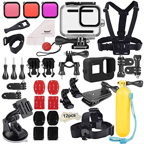 Deyard 52 in 1 Accessories Kit for GoPro Hero 8 Black, Waterproof Case 3 Filters Rubber Case Chest/Head/Wrist Strap Bike/Car Backpack Clip