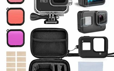 Accessory Kit for Gopro Hero 8, Rhodesy Housing Case and Filter Kit Including Waterproof housing case, Filter, Tempered Glass Screen Protector, Anti-Fog Inserts, Carrying Case for Gopro Hero 8 Camera